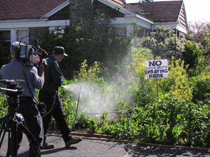 WSDA sprays organic garden